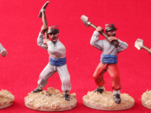 FFL07 Legionnaires in barrack dress in hand to hand combat with hand tools, 28mm miniatures, French Foreign Legion , Beau Geste, Exotic Adventures by Unfeasibly Miniatures