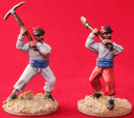 FFl07 Legionnaires in Barrack dress, in hand to hand combat with hand tools, 28mm miniatures, French Foreign Legion , Exotic adventures by Unfeasibly Miniatures