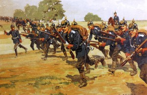 Prussian-infantry-on-manoeuvres-1905-by-Becker
