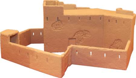 28mm (1/56 scale) resin miniature model of a BlockHaus (fort), part of the Exotic Adventures range by Unfeasibly Miniatures