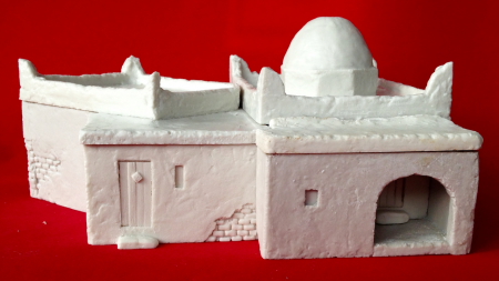 28mm (1/56 scale) resin miniature model of a Moroccan Casbah, part of the Exotic Adventures range by Unfeasibly Miniatures